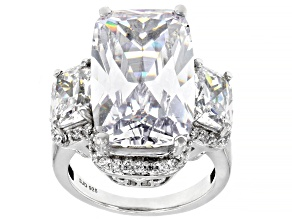 White Cubic Zirconia Rhodium Over Sterling Silver Ring 33.62ctw