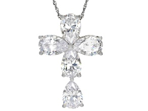 White Cubic Zirconia Rhodium Over Sterling Silver Cross Pendant With Chain 23.70ctw