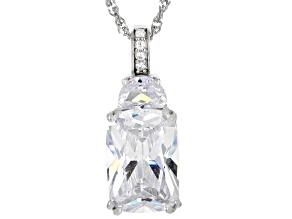 White Cubic Zirconia Rhodium Over Sterling Silver Pendant With Chain 9.77ctw
