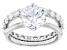White Cubic Zirconia Rhodium Over Sterling Silver Ring With Band 6.82ctw