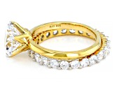 White Cubic Zirconia 18k Yellow Gold Over Sterling Silver Ring With Band 6.82ctw