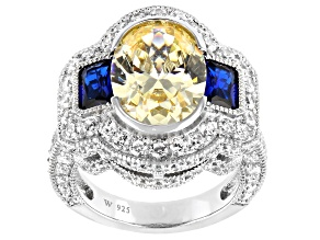 Blue Lab Created Spinel And Yellow And White Cubic Zirconia Rhodium Over Silver Ring 13.45ctw