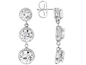 White Cubic Zirconia Rhodium Over Sterling Silver Dangle Earrings 14.69ctw