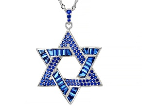 Lab Created Blue Spinel Rhodium Over Sterling Silver Star Of David Pendant With Chain 4.48ctw
