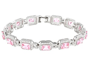 Pink And White Cubic Zirconia Rhodium Over Sterling Silver Bracelet 25.34ctw