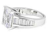 Scintillant Cut White Cubic Zirconia Rhodium Over Sterling Silver Ring 11.34ctw