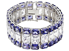 Blue And White Cubic Zirconia Rhodium Over Sterling Silver Bracelet 280.00ctw