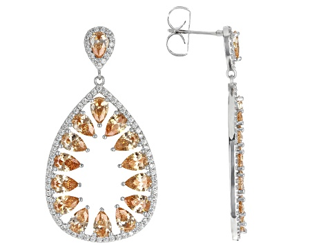 Champagne And White Cubic Zirconia Rhodium Over Sterling Silver Earrings 27.74ctw
