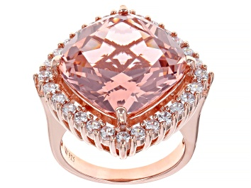 Picture of Pink And White Cubic Zirconia 18k Rose Gold Over Sterling Silver Ring 16.34ctw