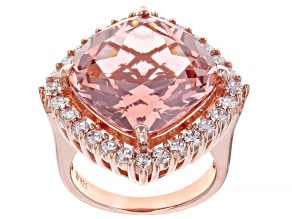 Pink And White Cubic Zirconia 18k Rose Gold Over Sterling Silver Ring 16.34ctw