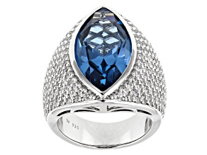 Lab Created Blue Spinel and White Cubic Zirconia Rhodium Over Silver Ring 14.77ctw