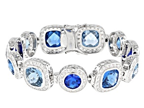 Lab Light And Dark Blue Spinel And White Cubic Zirconia Rhodium Over Silver Bracelet 38.54ctw