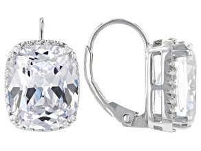White Cubic Zirconia Rhodium Over Sterling Silver Earrings 18.32ctw