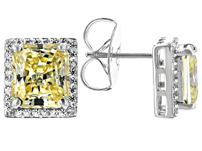 Scintillant Yellow And White Cubic Zirconia Rhodium Over Sterling Silver Earrings 10.27ctw