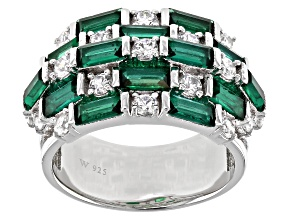 Green And White Cubic Zirconia Rhodium Over Sterling Silver Ring 4.20ctw