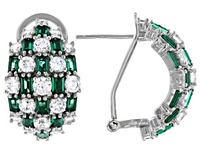 Green And White Cubic Zirconia Rhodium Over Sterling Silver Earrings 6.12ctw