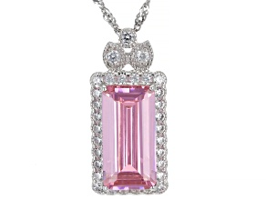 Pink And White Cubic Zirconia Rhodium Over Sterling Silver Pendant With Chain 10.72ctw