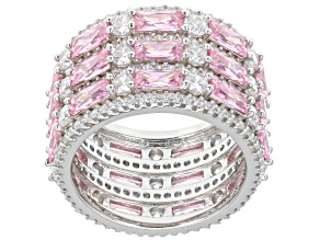 Pink And White Cubic Zirconia Rhodium Over Sterling Silver Ring 13.33ctw