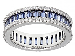 Blue And White Cubic Zirconia Rhodium Over Silver Ring. 4.74ctw