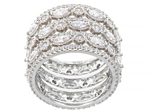 White Cubic Zirconia Rhodium Over Sterling Silver Ring 8.07ctw
