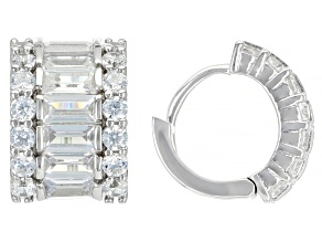 White Cubic Zirconia Rhodium Over Sterling Silver Earrings. 3.76ctw