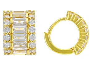 White Cubic Zirconia 18k Yellow Gold Over Sterling Silver Earrings 3.76ctw
