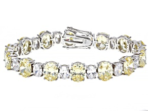 Yellow And White Cubic Zirconia Rhodium Over Silver Bracelet 82.95ctw