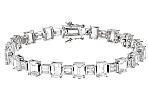 White Cubic Zirconia Rhodium Over Sterling Silver Bracelet 34.70ctw