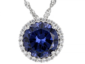 Blue And White Cubic Zirconia Rhodium Over Silver Pendant With Chain 6.70ctw