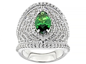 Green And White Cubic Zirconia Rhodium Over Sterling Silver Ring 9.56ctw