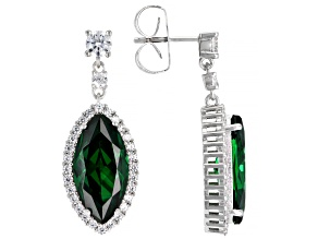 Green And White Cubic Zirconia Rhodium Over Sterling Silver Earrings 16.18ctw