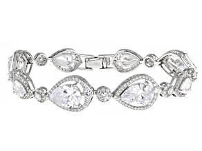 White Cubic Zirconia Rhodium Over Sterling Silver Bracelet. 34.38ctw