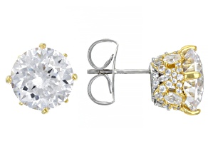 White Cubic Zirconia Rhodium Over Sterling Silver Two-Tone Earrings. 14.94ctw