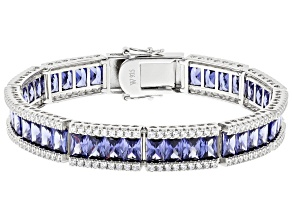 Blue And White Cubic Zirconia Rhodium Over Sterling Silver Bracelet 36.09ctw
