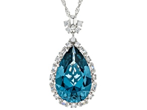 Lab Blue Spinel And White Cubic Zirconia Rhodium Over Sterling Silver Pendant With Chain 17.94ctw