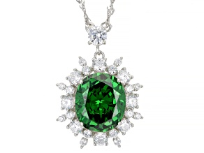 Green And White Cubic Zirconia Rhodium Over Silver Pendant With Chain 10.76ctw