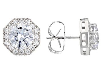 Picture of White Cubic Zirconia Rhodium Over Sterling Silver Earrings 6.99ctw