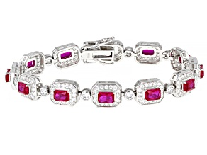 Red Lab Created Ruby And White Cubic Zirconia Rhodium Over Sterling Silver Bracelet 12.49ctw