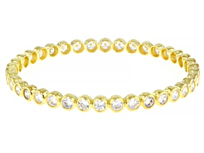 White Cubic Zirconia 18k Yellow Gold Over Sterling Silver Bangle 15.20ctw