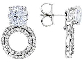 White Cubic Zirconia Rhodium Over Sterling Silver Convertible Earrings 7.50ctw (5.00ctw DEW)