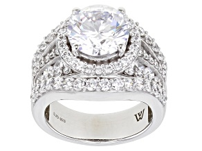 White Cubic Zirconia Rhodium Over Sterling Silver Ring 9.30ctw (6.20ctw DEW)