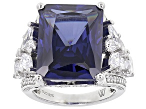 Blue and White Cubic Zirconia Rhodium Over Sterling Silver Ring