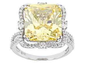 Yellow and White Cubic Zirconia Rhodium Over Silver Ring 15.09ctw