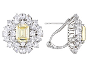 Yellow and White cubic Zirconia Rhodium Over Silver Earrings
