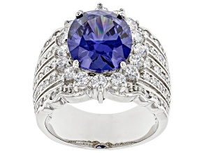 Blue And White Cubic Zirconia Rhodium Over Sterling Silver Ring 9.99ctw