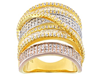 Picture of Cubic Zirconia Rhodium Over Silver And 18K Yellow And Rose Gold Over Sterling Silver Ring.
