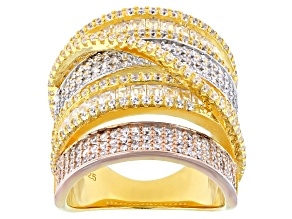 Cubic Zirconia Rhodium Over Silver And 18K Yellow And Rose Gold Over Sterling Silver Ring.