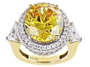 Yellow and White Cubic Zirconia 18K Yellow Gold Over Silver Ring 15.74ctw