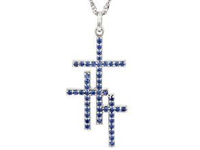 Blue Cubic Zirconia Rhodium Over Silver Triple Cross Pendant With Chain