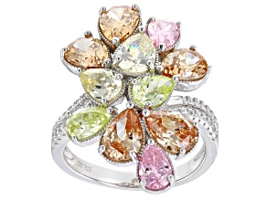 Pink, Yellow, Champagne, and Green Cubic Zirconia Rhodium Over Silver Ring